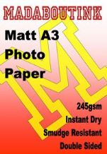 A3 Double Sided Matt Inkjet Photo Paper 245gsm 100 Sheets